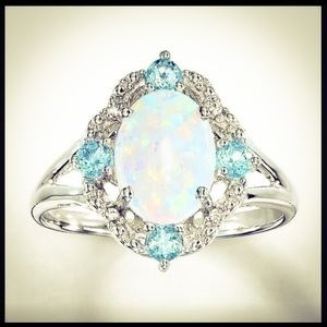 Sparkling Sterling Silver Fire Opal & Zircon Ring